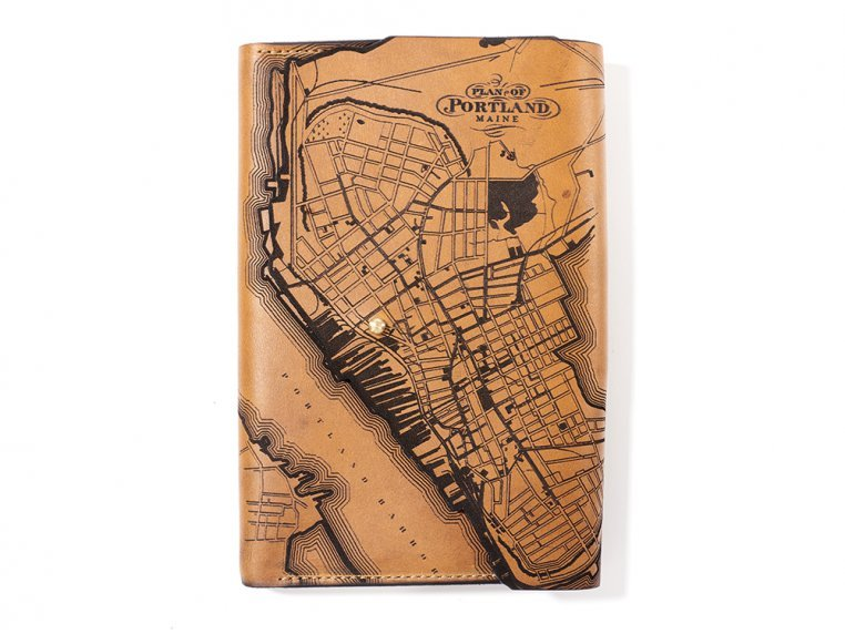 Etched Leather Map Journal - Portland, ME by Tactile Craftworks - 1