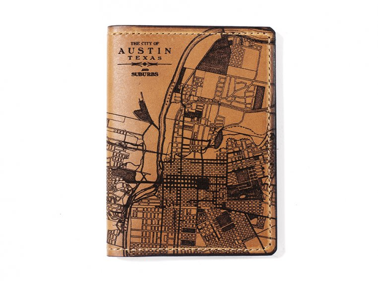 Etched Leather Map Passport Wallet by Tactile Craftworks - 5