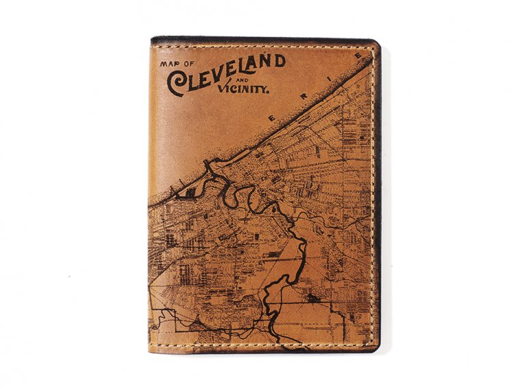 Etched Leather Map Passport Wallet by Tactile Craftworks - 9