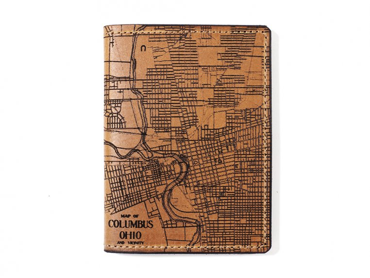 Etched Leather Map Passport Wallet by Tactile Craftworks - 10