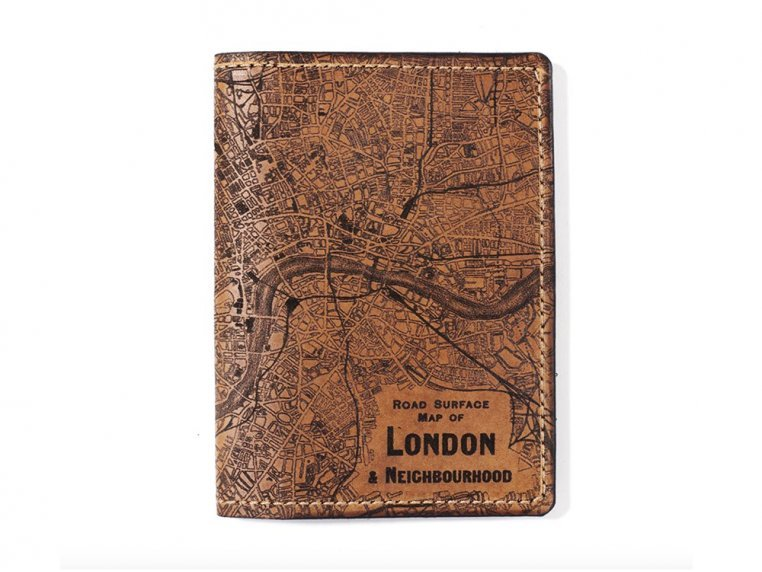 Etched Leather Map Passport Wallet by Tactile Craftworks - 14