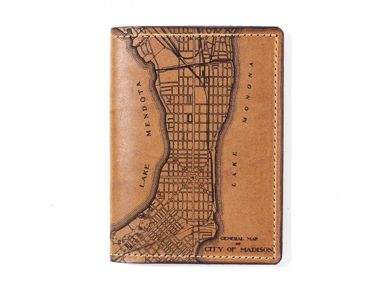 Etched Leather Map Passport Wallet by Tactile Craftworks - 16