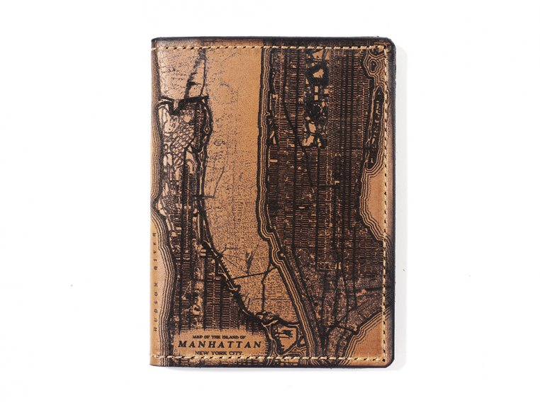 Etched Leather Map Passport Wallet by Tactile Craftworks - 17