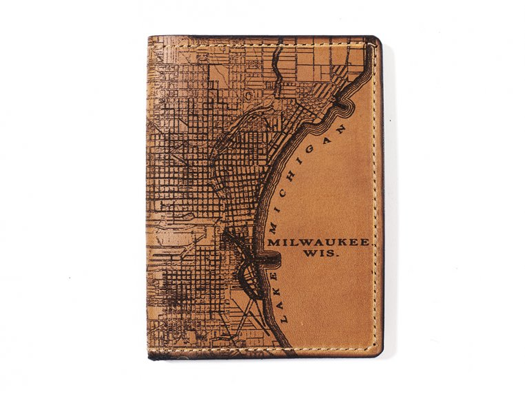 Etched Leather Map Passport Wallet by Tactile Craftworks - 18