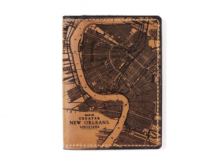 Etched Leather Map Passport Wallet by Tactile Craftworks - 20