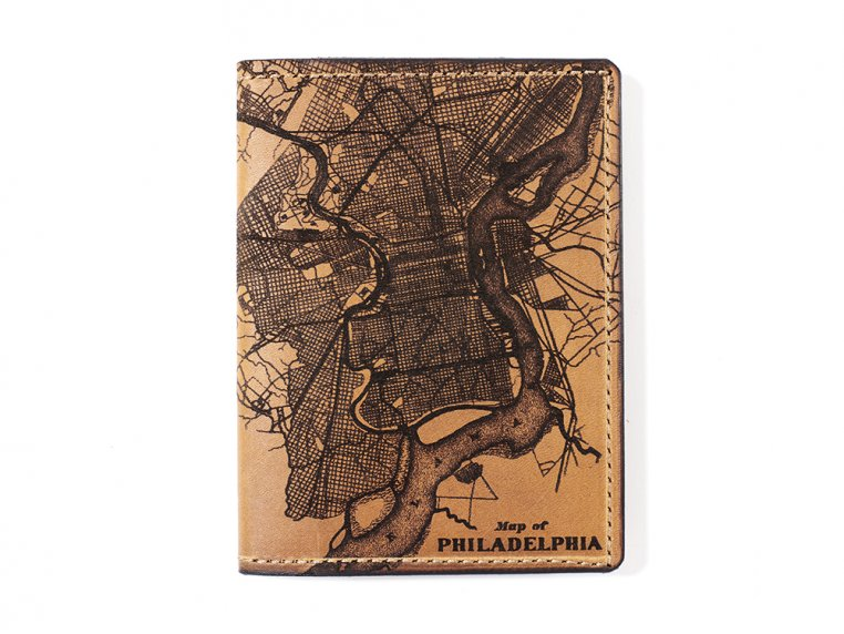 Etched Leather Map Passport Wallet by Tactile Craftworks - 22