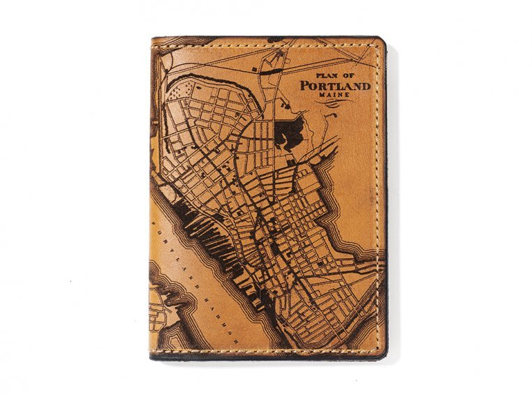 Etched Leather Map Passport Wallet by Tactile Craftworks - 24
