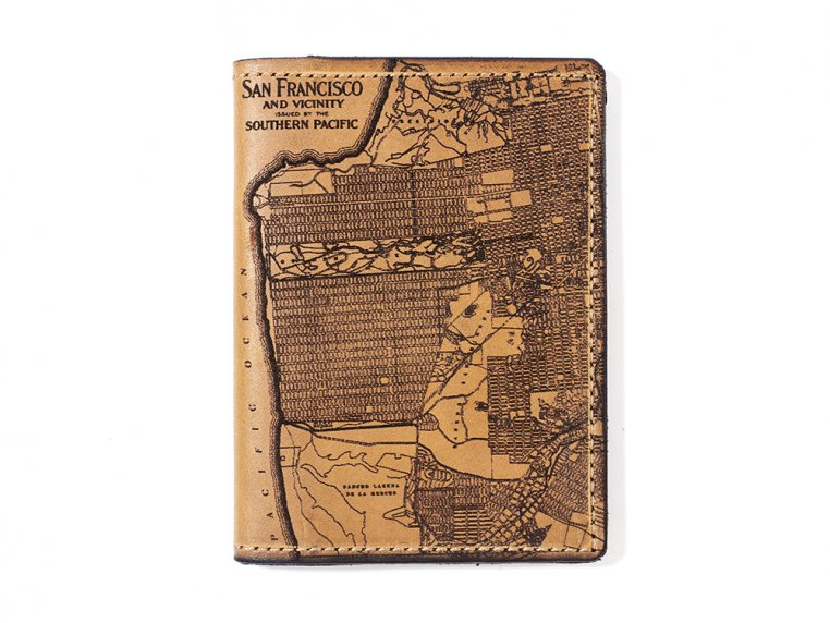 Etched Leather Map Passport Wallet by Tactile Craftworks - 26