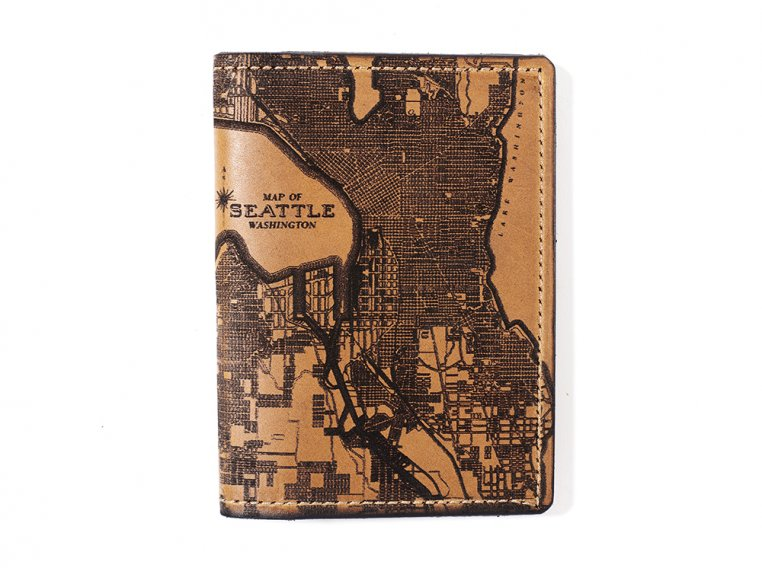 Etched Leather Map Passport Wallet by Tactile Craftworks - 27