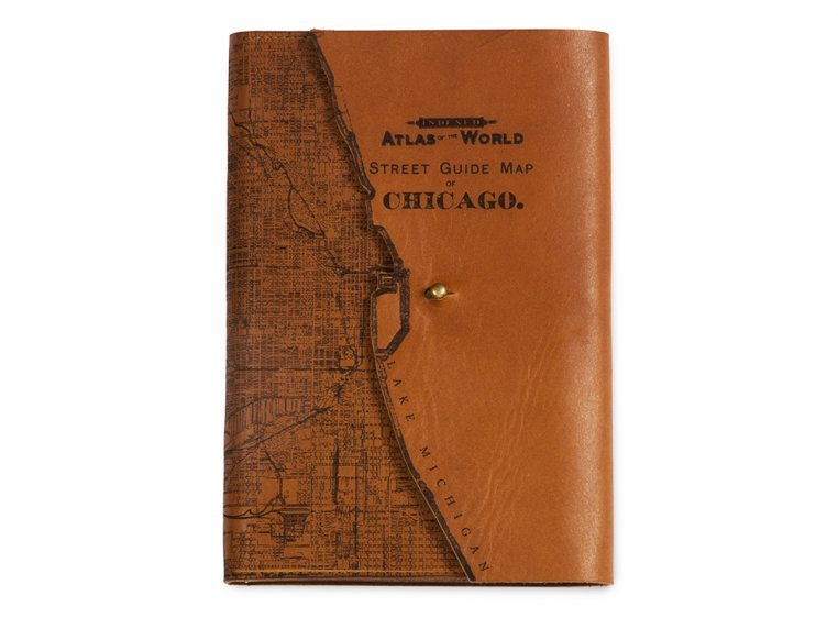 Etched Leather Map Journal by Tactile Craftworks - 10