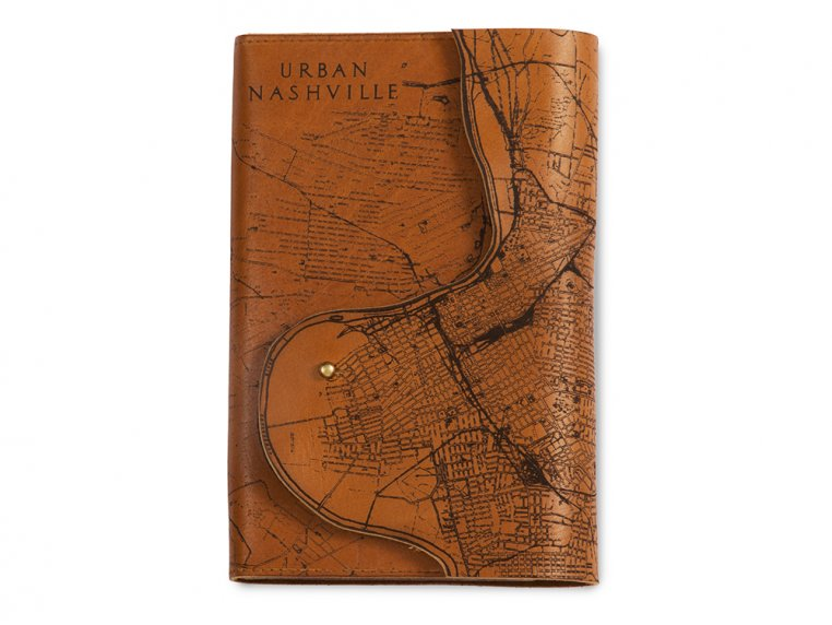 Etched Leather Map Journal - Nashville, TN by Tactile Craftworks - 1