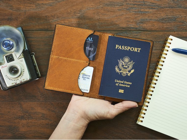 Etched Leather Map Passport Wallet by Tactile Craftworks - 2