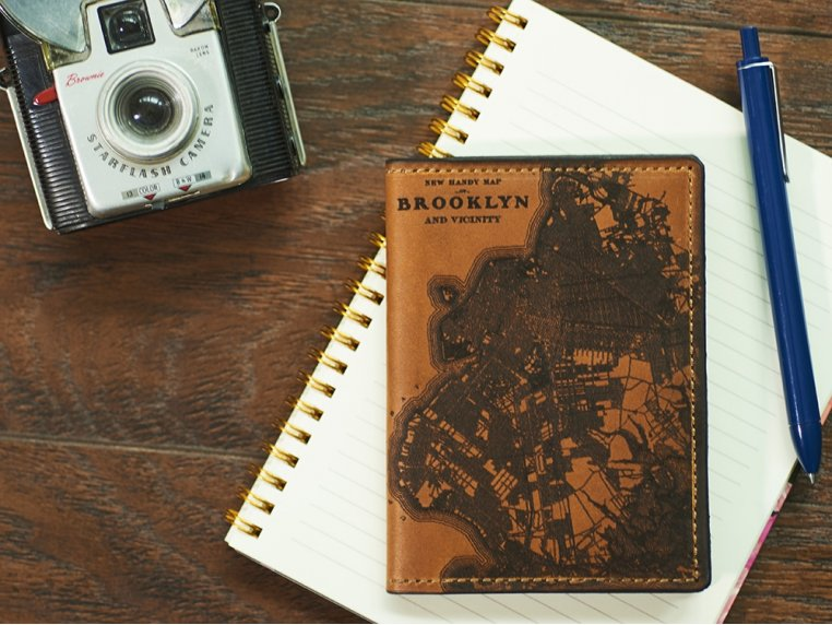 Etched Leather Map Passport Wallet by Tactile Craftworks - 1