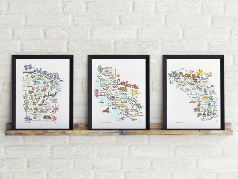 State Map Print by Fish Kiss - 2