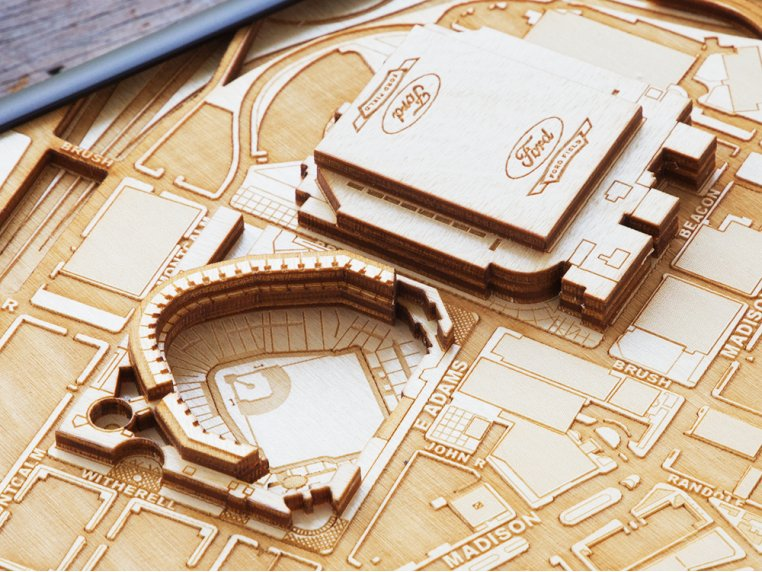 Laser Cut Stadium City Map by Stadium Map Art - 4