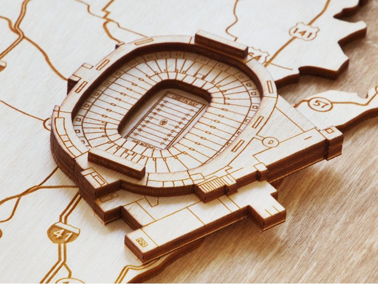 Laser Cut Stadium State Map by Stadium Map Art - 4