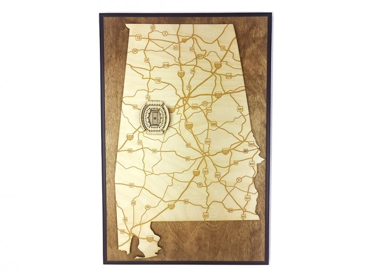 Laser Cut Stadium State Map by Stadium Map Art - 5