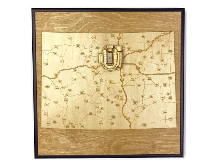 Laser Cut Stadium State Map by Stadium Map Art - 25
