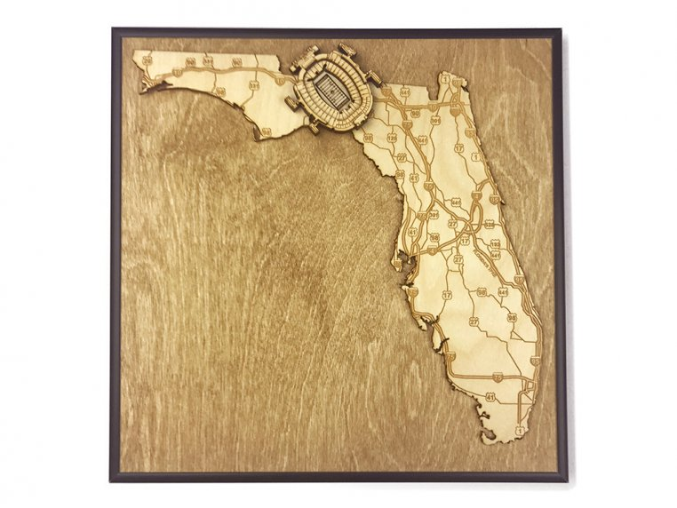 Laser Cut Stadium State Map by Stadium Map Art - 36