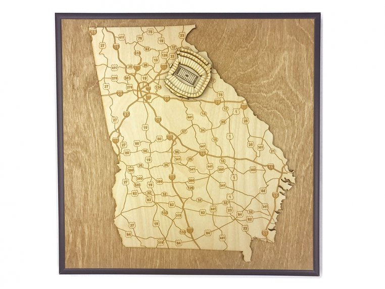 Laser Cut Stadium State Map by Stadium Map Art - 39