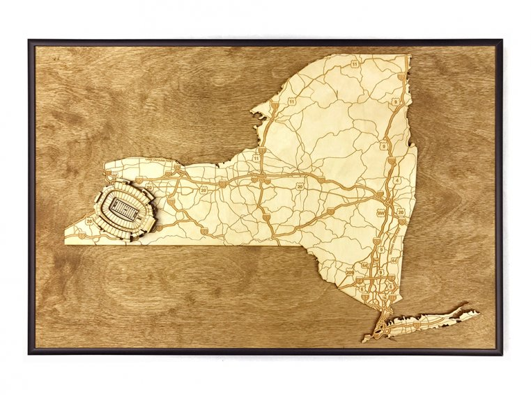 Laser Cut Stadium State Map by Stadium Map Art - 82