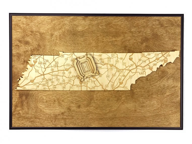 Laser Cut Stadium State Map by Stadium Map Art - 110