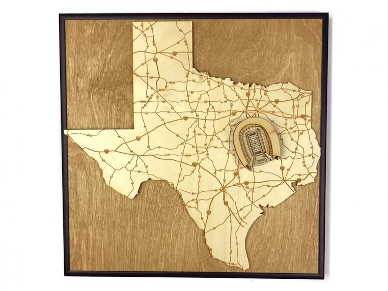 Laser Cut Stadium State Map by Stadium Map Art - 112