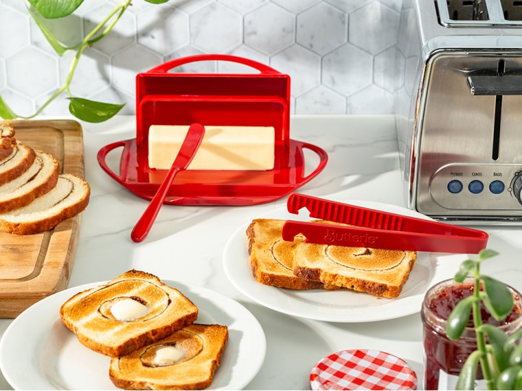 Butter Dish & Toast Tongs Set by Butterie - 3