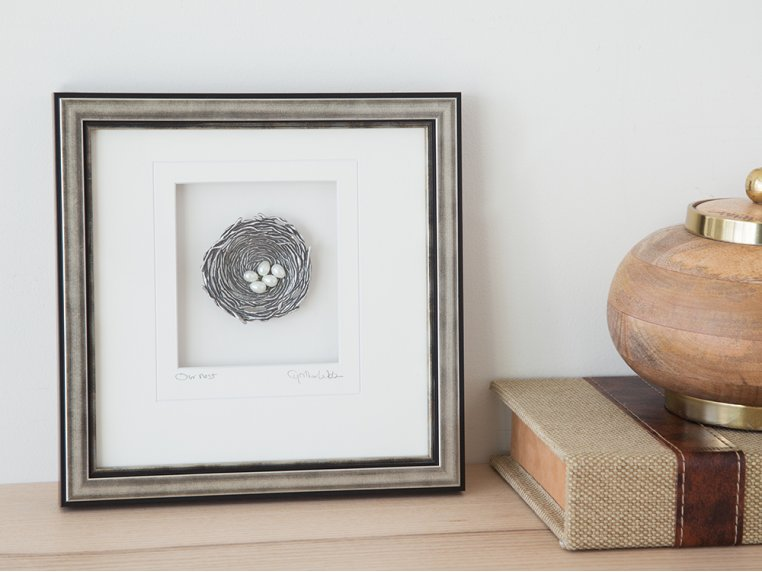 Framed Pewter Bird's Nest by Cynthia Webb Designs - 2
