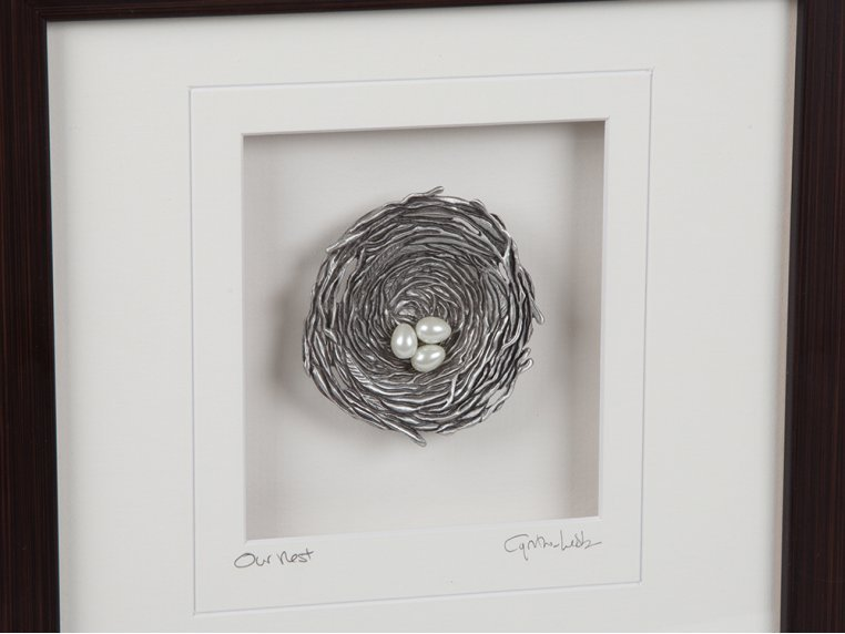 Framed Pewter Bird's Nest by Cynthia Webb Designs - 3