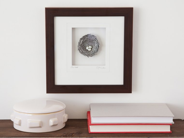 Framed Pewter Bird's Nest by Cynthia Webb Designs - 1