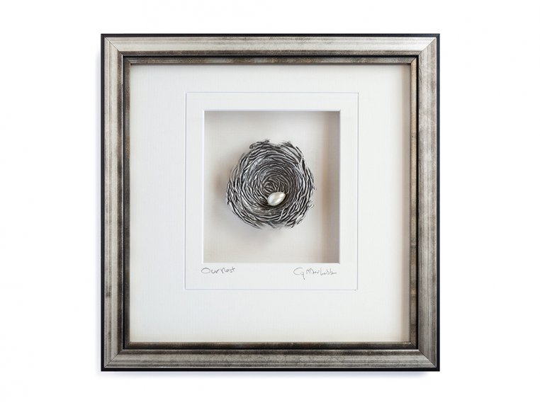 Framed Pewter Bird's Nest by Cynthia Webb Designs - 4