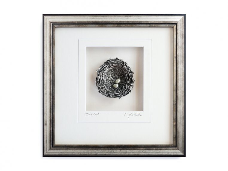 Framed Pewter Bird's Nest by Cynthia Webb Designs - 5