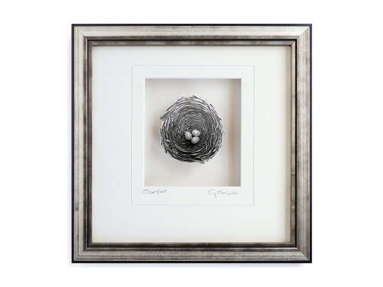 Framed Pewter Bird's Nest by Cynthia Webb Designs - 6