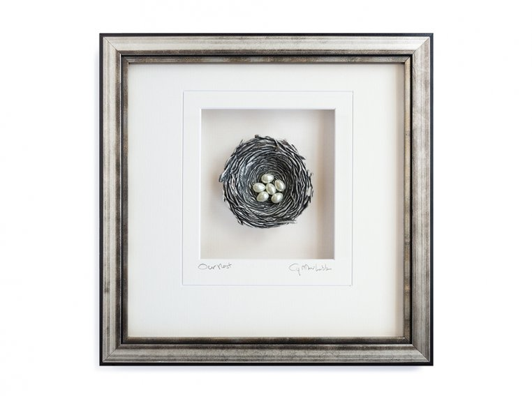 Framed Pewter Bird's Nest by Cynthia Webb Designs - 9
