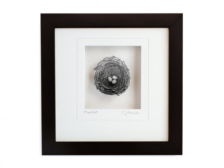 Framed Pewter Bird's Nest by Cynthia Webb Designs - 13