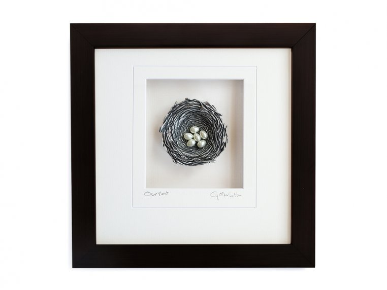 Framed Pewter Bird's Nest by Cynthia Webb Designs - 16