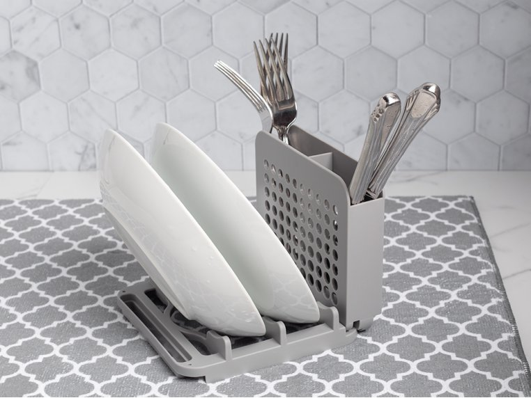 3 Piece Dish Drying Rack with Mat by Grand Fusion - 3