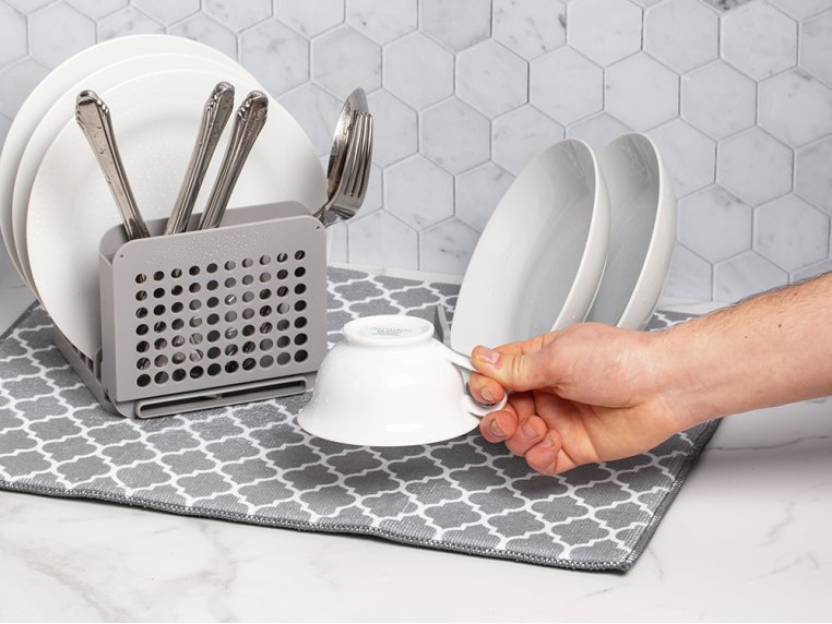 3 Piece Dish Drying Rack with Mat by Grand Fusion - 4