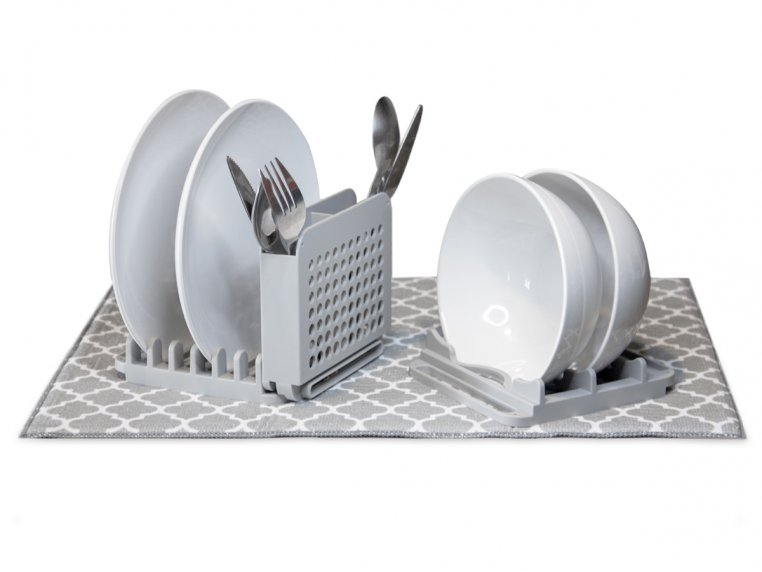 3 Piece Dish Drying Rack with Mat by Grand Fusion - 6