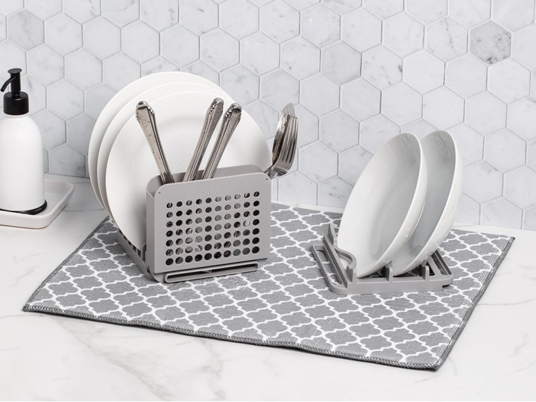 3 Piece Dish Drying Rack with Mat by Grand Fusion - 1