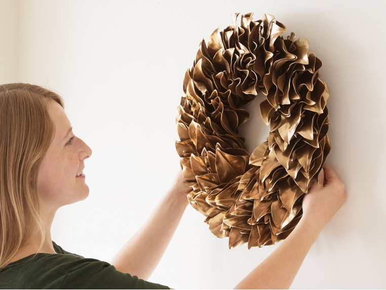 Lacquered Magnolia Leaf Wreath by The Magnolia Company - 4