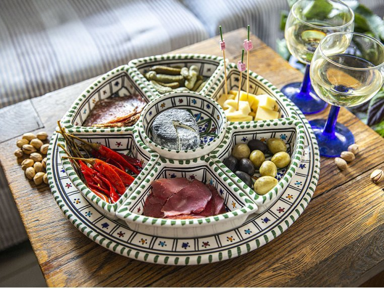 Round Dipping & Serving Plate Set by Kamsah - 2