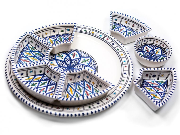 Round Dipping & Serving Plate Set by Kamsah - 1