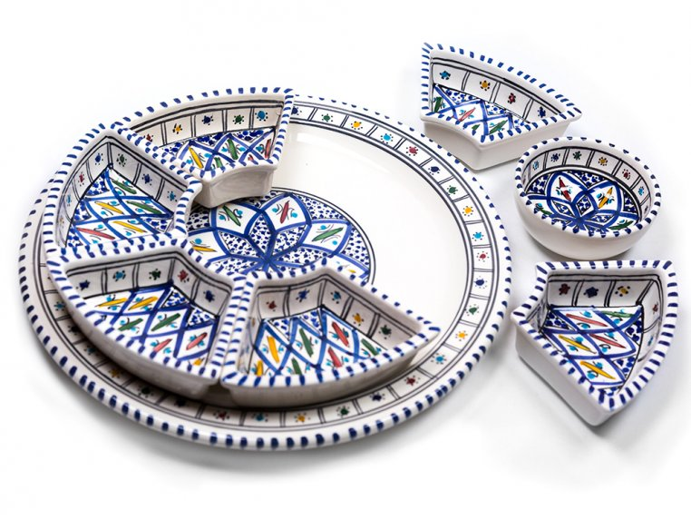 Round Dipping & Serving Plate Set by Kamsah - 4