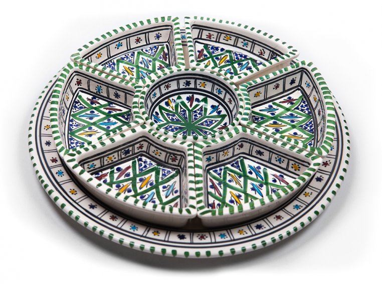 Round Dipping & Serving Plate Set by Kamsah - 5