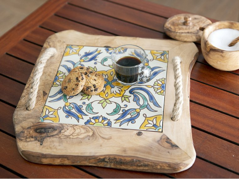 Ceramic Tile Tray with Rope Handles by Kamsah - 2