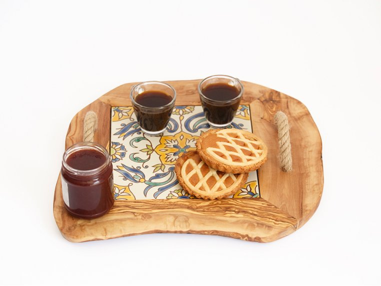 Ceramic Tile Tray with Rope Handles by Kamsah - 6