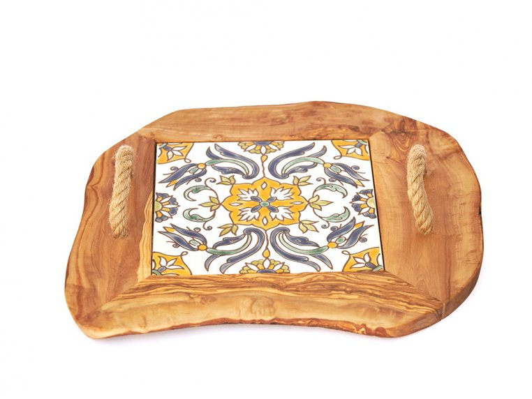 Ceramic Tile Tray with Rope Handles by Kamsah - 1