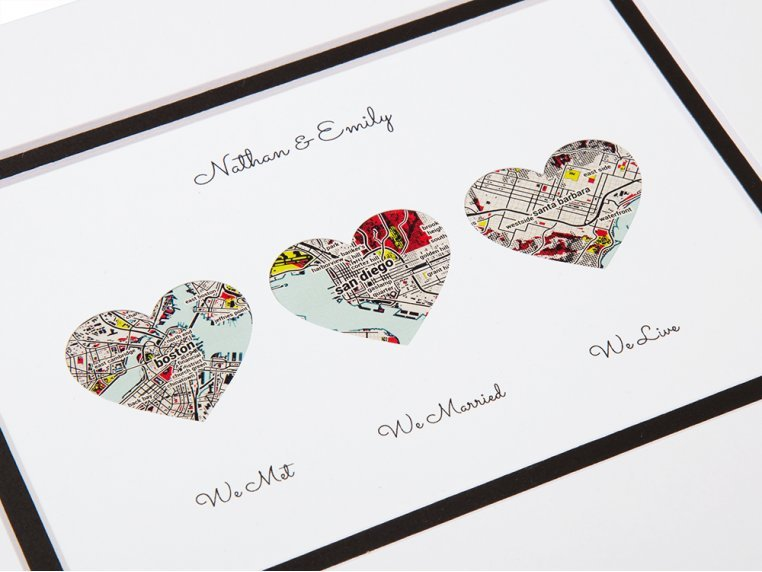 Personalized Map Love Story Art by Paper'd Moments - 3